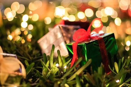 Gift Box Christmas and New year decorations, soft focus Archivio Fotografico