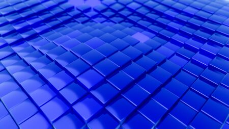 Minimalistic waves pattern made of cubes. Abstract Blue Cubic Waving Surface Futuristic Background.  3d render illustration.
