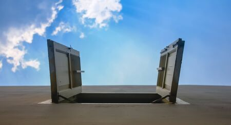 under view open wooden window to blue sky