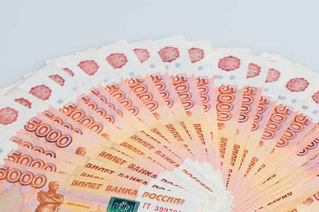 A fan of russian five thousands roubles money banknotes