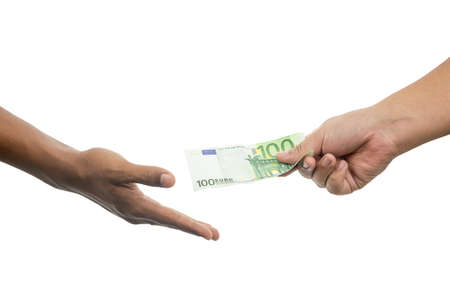 venality: Hands and money isolated on white background