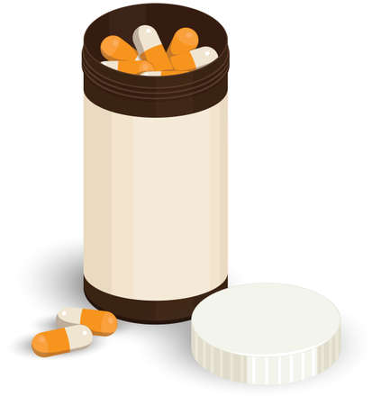 laxative: Many orange-and-white pills in a dark bottle for medicine, nearby lies the cover and two pills separately,  on white background Illustration