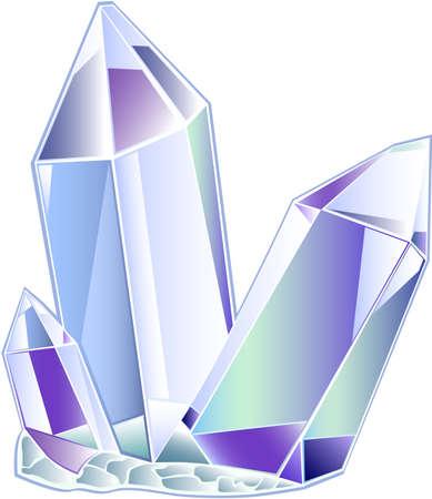 quartz druse of three transparent crystals