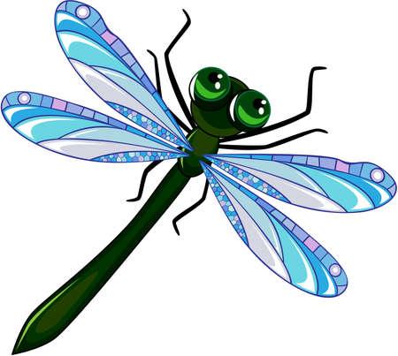 大きな瞳と青い翼の緑のボディを持つトンボ  イラスト・ベクター素材