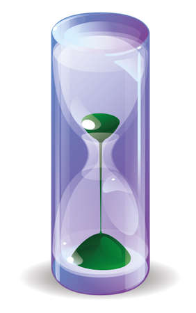 sheer: Shiny hourglass with green falls sand in a glass transparent cylinder with shadow on white background