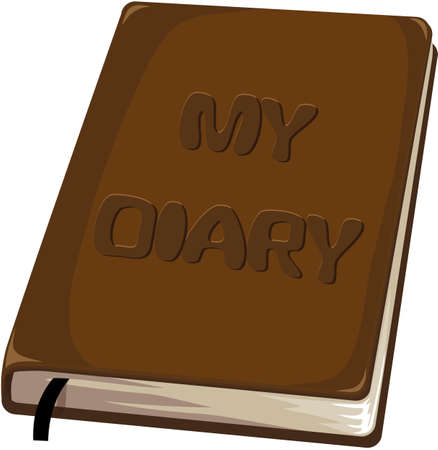dayplanner: Closed small brown notebook with title my diary with a bookmark, on a white background