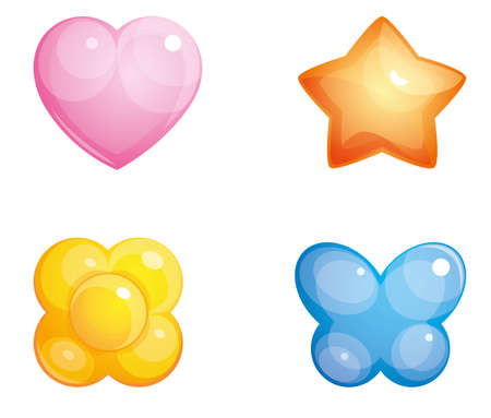 sheer: Set of convex glass buttons, pink heart, red star, blue butterfly, yellow flower  Isolated on white background