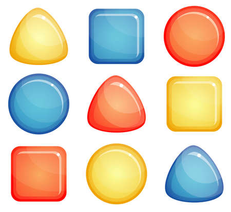 convex: Set of three glass convex buttons, circle, triangle, square  Red, blue and yellow colors  Isolated on white background  Illustration