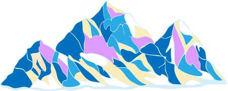꼭대기가 눈으로 덮인: 릿지 산맥, 흰색 배경에 장식 컬러의 세 가지 눈 덮인 봉우리