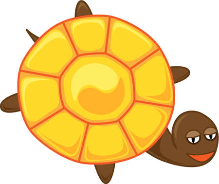 yinyang: tortoise with a big round shell in which   the symbol of yin-yang in light and shadow Illustration
