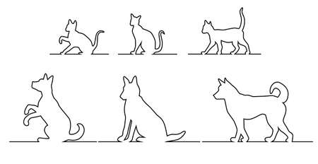 Set of silhouettes, black outline of dogs and cats in different poses, going, sitting and playing on the horizontal line Vector