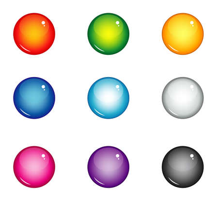 violet red: set of round buttons for web interface of different colors. red, blue, yellow, green, violet, pink, white, black glossy balls