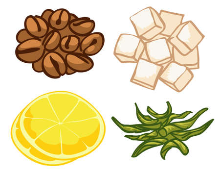 set of stylized images, roasted coffee, green tea, two slices of lemon and lumps of refined sugar