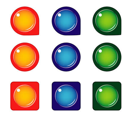 Set of colored round and square icons