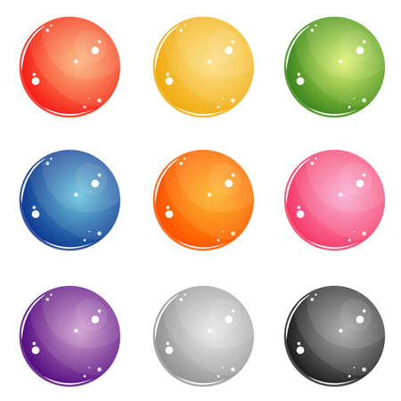 set of round buttons for web interface of different colors. red, blue, yellow, green, violet, pink, white, black glossy balls