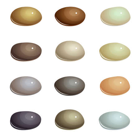Set of natural sea stones, shiny smooth brown and gray natural colors gem on a white background.