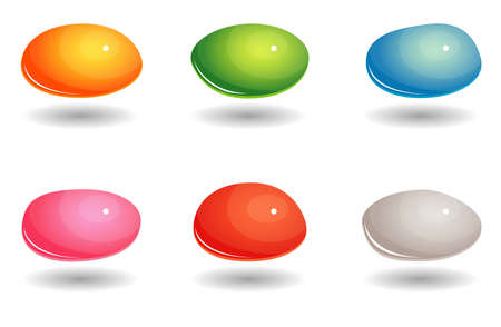 Set of colored oval gem icons