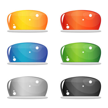 Een set van zes heldere glazen knopen, vergelijkbaar met de geleivorm. Vooraanzicht, zijaanzicht. Geel, rood, blauw, groen, wit en zwart. Vector Vector Illustratie