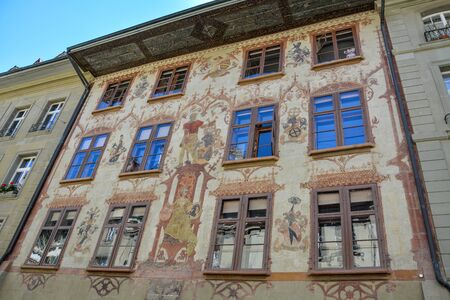 Medieval painting on house in the old town of Bern, Switzerland