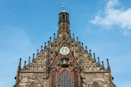 The church Frauenkirche at the main market in the old town of Nuremberg, Germany from the front
