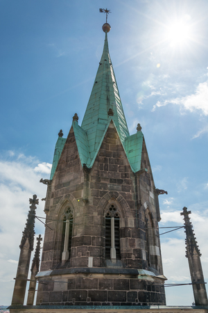 Close up of one tower of the St Lorenz church in Nuremberg, Germany
