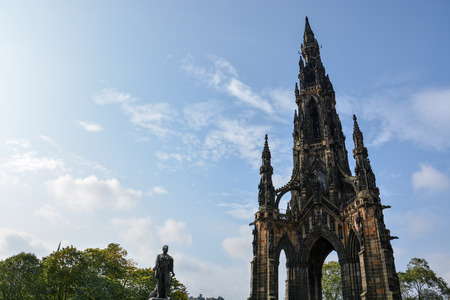 The landmark Scott Monument in Edinburgh in the afternoon sun and blue sky