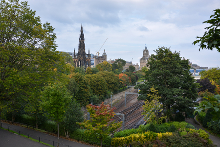 city park skyline: The Scott monument and the train tracks from the main train station in Edinburgh