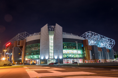 MANCHESTER, ENGLAND - September 29, 2017: The stadium Old Trafford in the night in Manchester