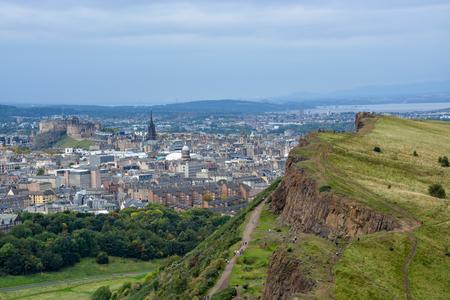 city park skyline: The Hollyrood park and Arthurs Seat with a view on Edinburgh, Scotland Stock Photo