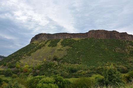 city park skyline: The Hollyrood park and Arthurs Seat near Edinburgh, Scotland Stock Photo