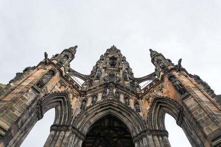 princes street: The landmark Scott Monument in Edinburgh as seen from below Stock Photo