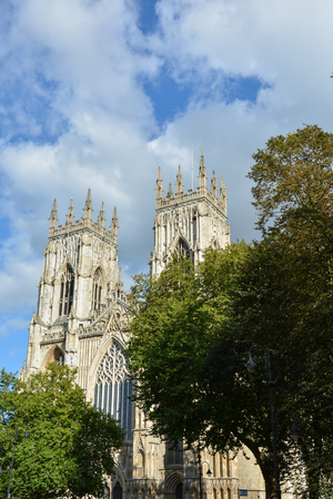 The minster of York from the front with blue sky above