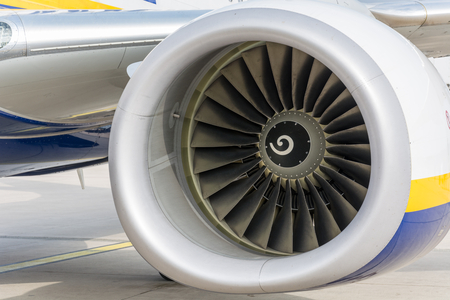 A turbine of an airplane from the front