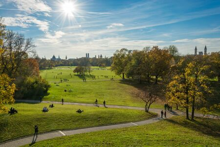 View from the Monopteros temple on the English Garden with the sun and blue sky
