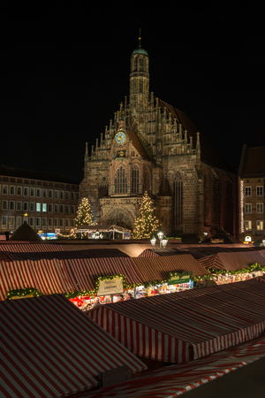 NUREMBERG, GERMANY - December 7th, 2017: The lit Christmas market in Nuremberg at night