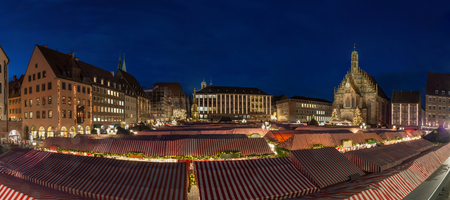 Panorama of the Christmas market in Nuremberg during the blue hour
