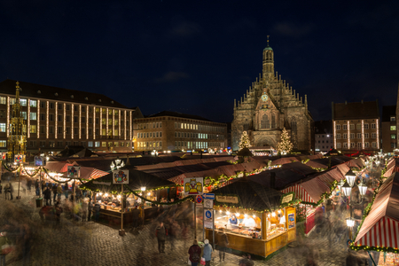The Christmas market in Nuremberg at night Stock Photo
