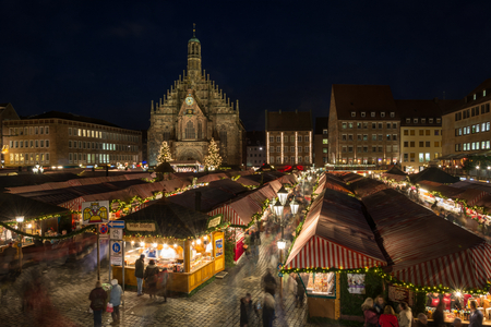 The Christmas market in Nuremberg at night Editorial