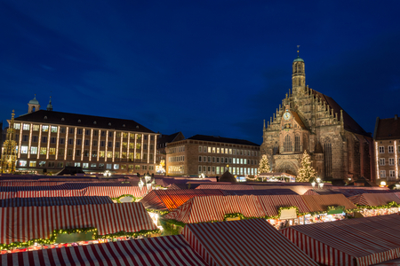 The Christmas market in Nuremberg during the blue hour