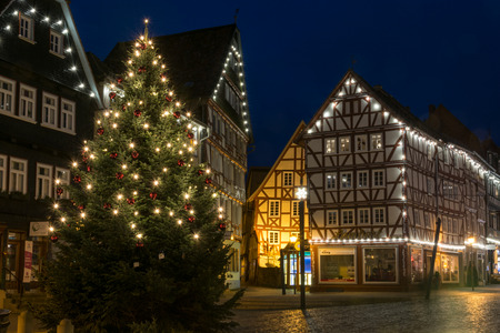 FRITZLAR, GERMANY: 25th December 2017: The marketplace of Fritzlar with Christmas tree and fairy lights during blue hour Editorial