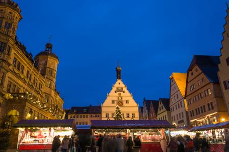 The Christmas market in Rothenburg ob der Tauber, Germany during blue hour