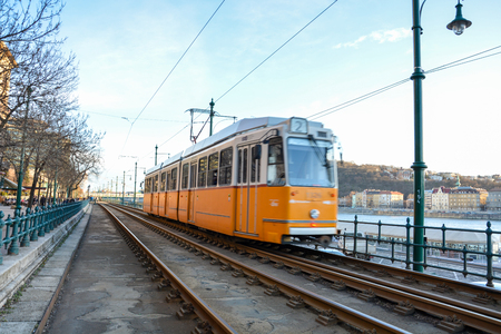 Historic tram at the river Danube in Budapest, Hungary