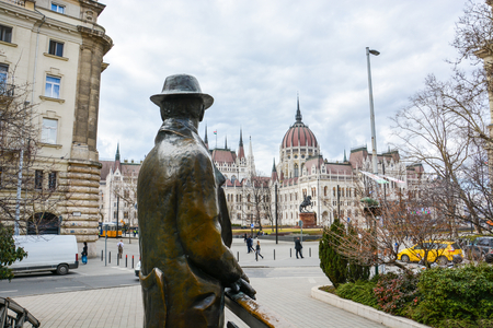 The statue of Imre Nagy on a Bridge looking in the direction of Budapest parliament Editorial