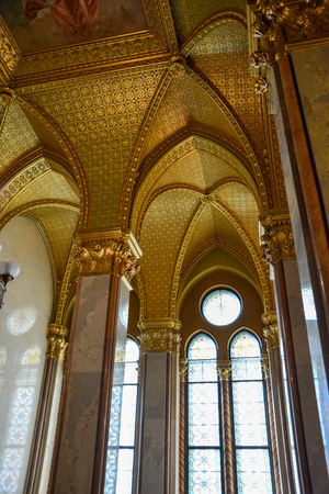 Golden walls and hallway in the Budapest parliament, Hungary