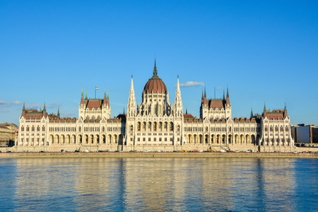 The famous Budapest parliament at the river Danube during sunset from the front