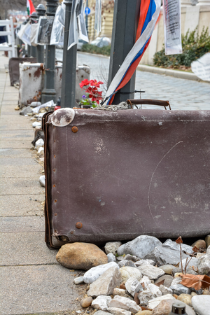 Several Suitcases and stones as memorial for Nazi occupation in Budapest