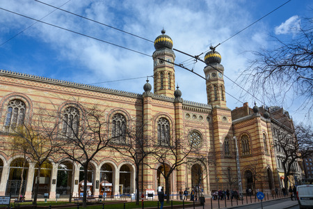 BUDAPEST, HUNGARY - MARCH 13, 2018: The Dohany Synagogue in Budapest with blue sky