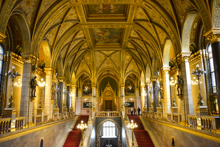 Golden walls, hallway and staircase in Budapest parliament, Hungary
