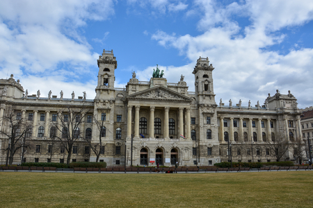 The ethnographic museum in Budapest, Hungary with blue sky