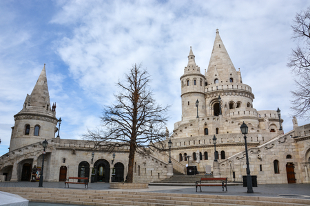 The Fishermans bastion in Budapest with blue sky Stock Photo